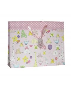 Pink With Teddy & Animal Baby Shower Medium Bag