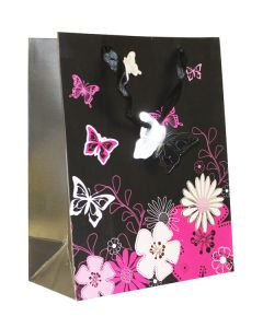 Black Magenta Floral With Butterfly  Medium Bag