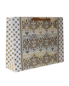Golden & White Damask  Medium Bag