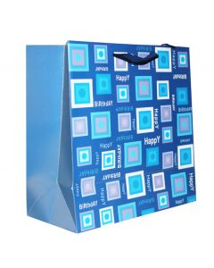 Blue Happy Birthday  Medium Bag