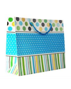 Blue & White Polka Dots With MultiColour Strips  Medium Bag