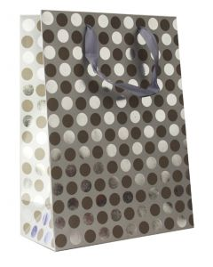 Silver Polka Dots Large Bag