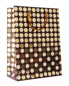 brown with golden polka dots large gift bag