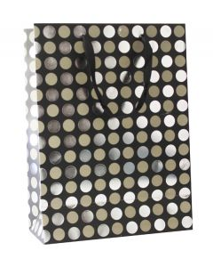 Black With Silver Polka Dots Large Bag