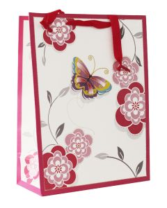 Pink Flower With Butterfly Large Bag