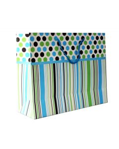 blue ribbon with stripes & polka dot medium gift bag