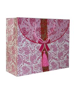 Pink Floral With Bow Medium Bag