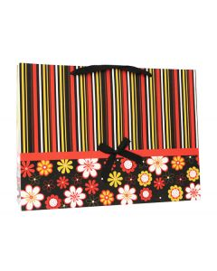 Black Flower & Stripes Extra Large Bag