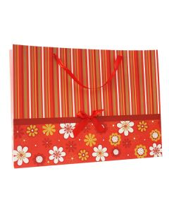 Red Flower & Stripes Extra Large Bag