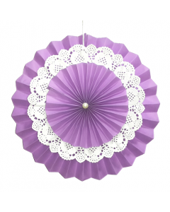 Purple Rosette Paper Fans with Doily