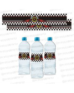 race car party water bottle labels