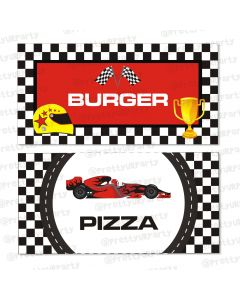 race car party theme food labels / buffet table cards