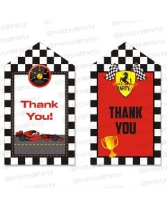 race car party theme thankyou cards