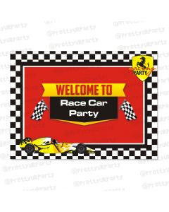 race car party theme entrance banner / door sign