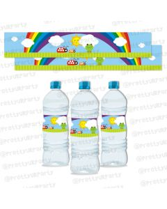 rainbow themed water bottle labels