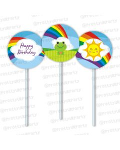 rainbow themed cupcake / food toppers
