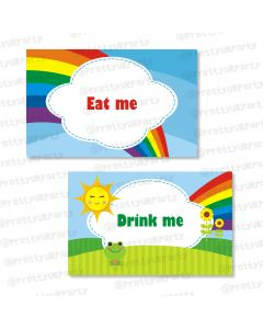 rainbow themed food labels / buffet table cards