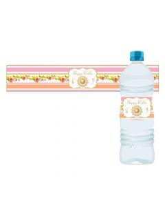 Pink and Orange Floral Rakhi Theme Bottle Labels