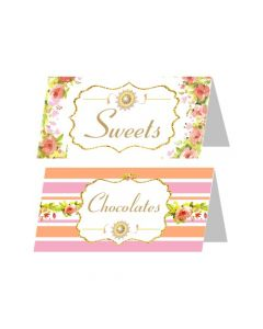 Pink and OrangeFloral Rakhi Food Labels / Buffet Table Cards