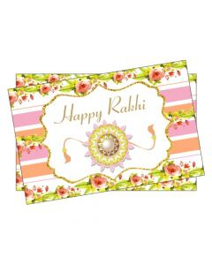 Pink and Orange Floral Rakhi Theme Table Mats