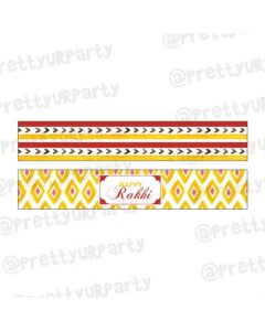 Red and Yellow Pattern Rakhi Theme Bottle Labels