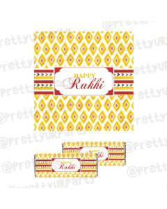 Red and Yellow Pattern Rakhi Theme Chocolate Wrappers