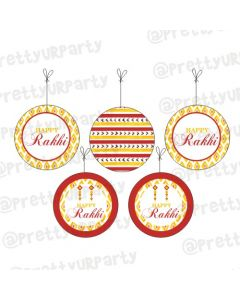 Red and Yellow Pattern Rakhi Theme Danglers
