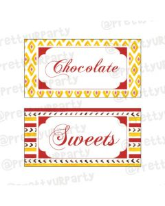 Red and Yellow Pattern Rakhi Food Labels