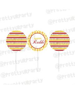 Red and Yellow Pattern Rakhi Cupcake / Food Toppers