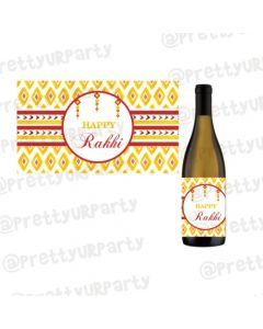 Personalised Red and Yellow Pattern Rakhi Champagne / Wine Label