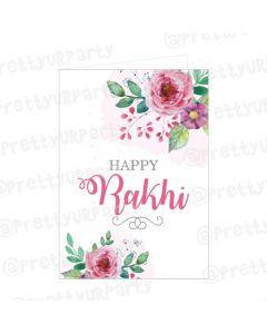 Pink and Green Floral Rakhi Greeting Card
