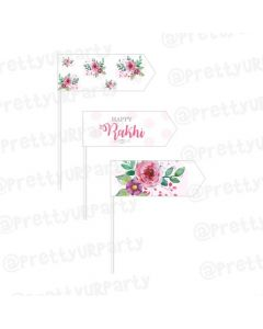 Pink and Green Floral Rakhi Picks
