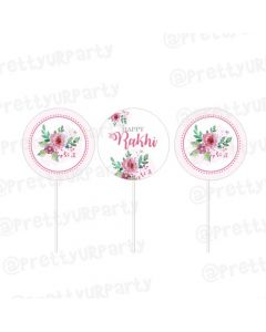Pink and Green Floral Rakhi Cupcake / Food Toppers
