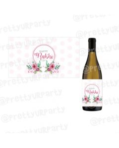 Personalised Pink and Green Floral Rakhi Champagne / Wine Label