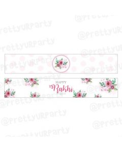 Pink and Green Floral Rakhi Theme Bottle Labels