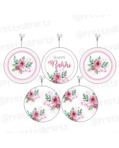 Pink and Green Floral Rakhi Theme Danglers