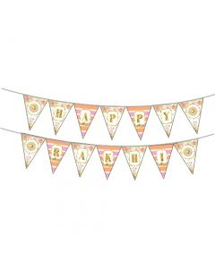 Pink and Orange Floral Rakhi Theme Bunting