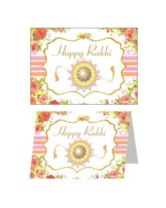 Pink and Orange Floral Rakhi Greeting Cards 01