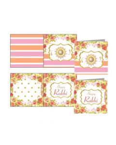 Pink and Orange Floral Rakhi Gift Tags