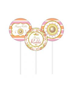 Pink and Orange Floral Rakhi Cupcake / Food Toppers
