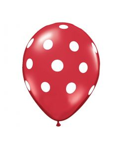 Polka Dots Latex Balloons - Red (Pack of 10)