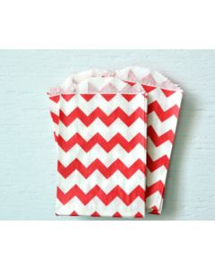 Red Chevron Favor  Bag -Pack of 12