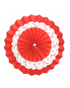 Red Rosette Paper Fans with Doily - Big