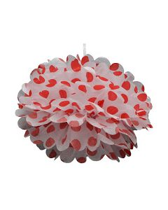 Red Polka Dot Tissue Paper Pom Poms 12""