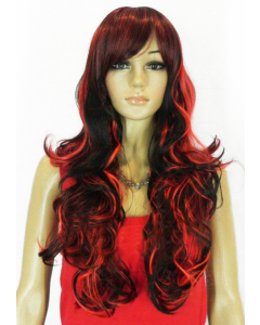 Red and Black long hair wig