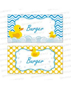 Rubber Ducky Food Labels / Buffet Table Cards