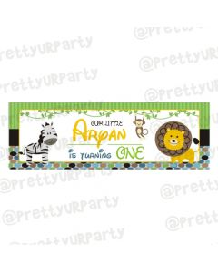 Personalized Safari Boy Birthday Banner 36in