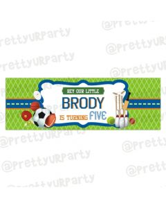 Personalized Sports Birthday Banner 36in