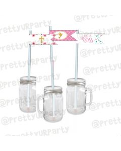 Baptism Theme Drink Straws