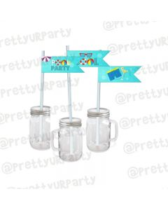 Splash Pool Party Theme Drink Straws